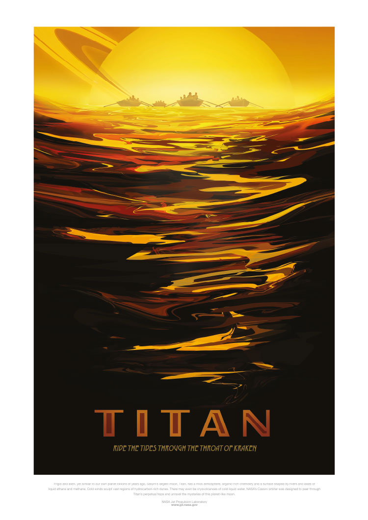 Retro Space Tourism Poster: Titan